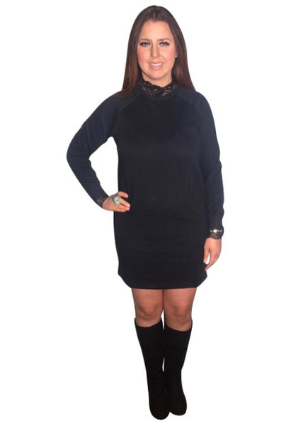 BLACK LACE SWEATSHIRT DRESS
