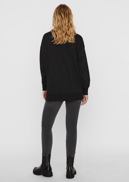 BLACK LONGLINE SWEATSHIRT