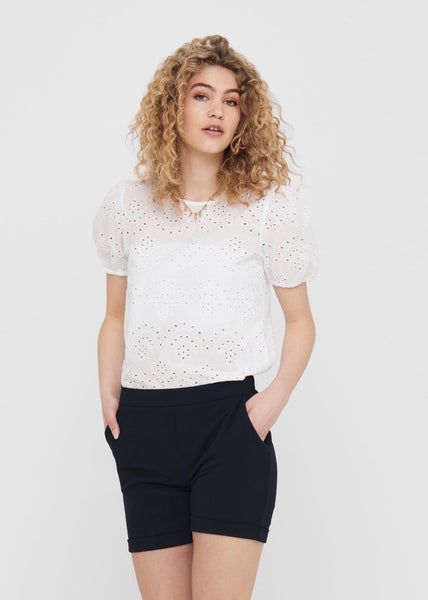 WHITE BRODERIE ANGLAISE TOP