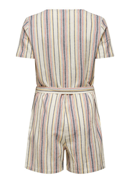 STRIPE BUTTON PLAYSUIT