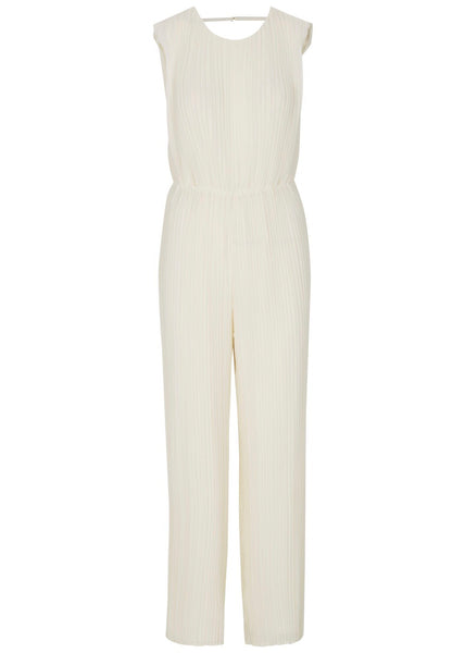 White plisse pleated jumpsuit