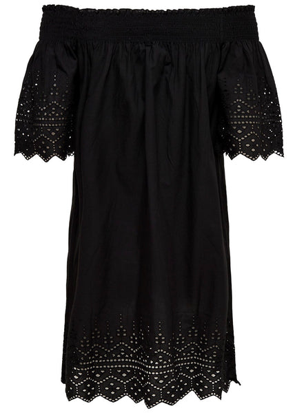 BLACK LASER BARDOT DRESS