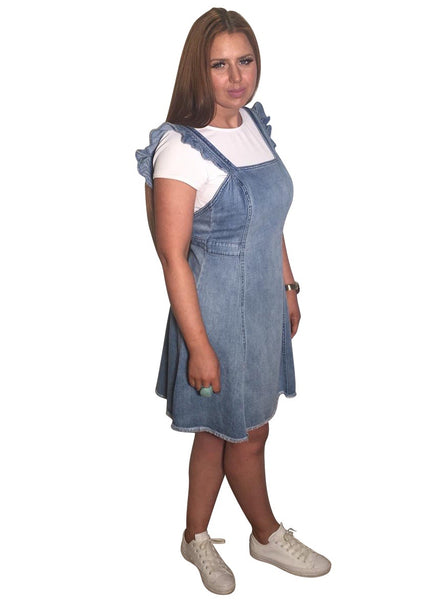DENIM FRILL PINNY DRESS