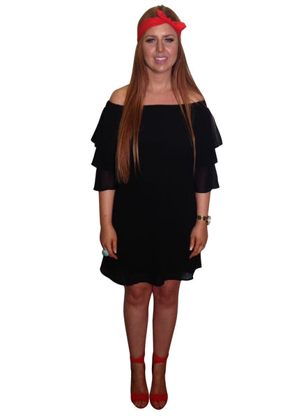 BLACK FRILL BARDOT DRESS