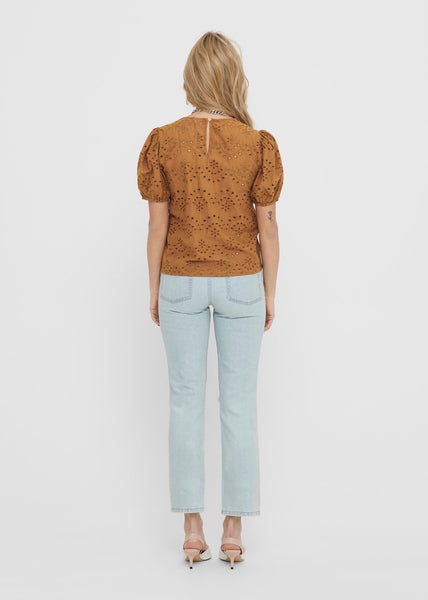 RUST BRODERIE ANGLAISE TOP