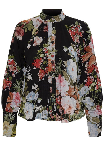 BLACK HIGH NECK FLORAL BLOUSE