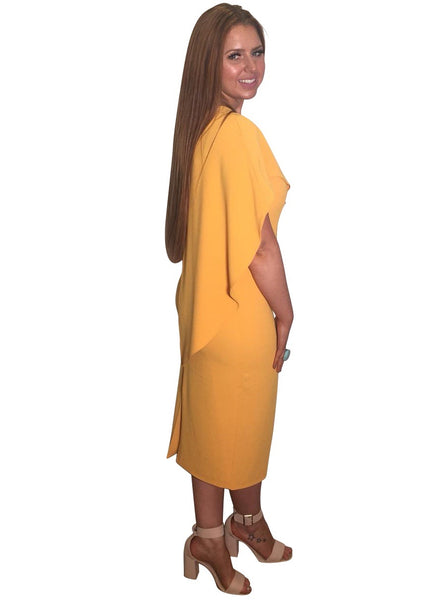 lavish alice orange cape midi dress