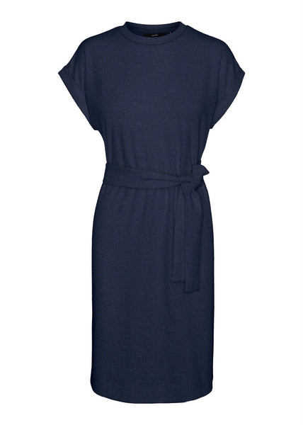 NAVY TIE BELT DRESS