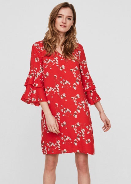 RED FLORAL FRILL TEA DRESS