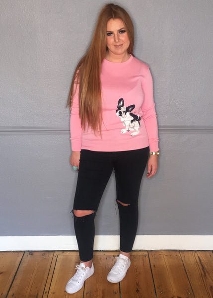 PINK FRENCH BULLDOG JUMPER