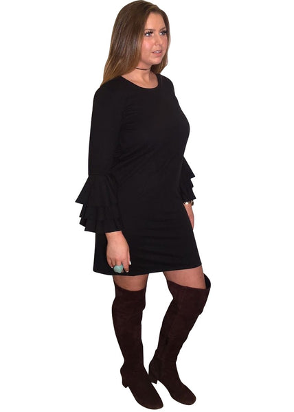 BLACK RUFFLE SWEATSHIRT DRESS