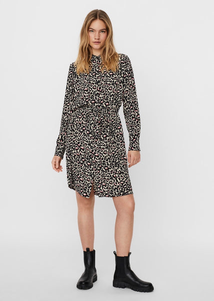 PINK LEOPARD PRINT SHIRT DRESS