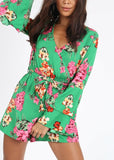 GREEN FLORAL PLAYSUIT