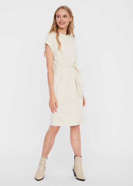 CREAM TIE BELT DRESS