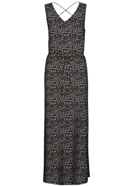 LEOPARD PRINT SIDE SPLIT MAXI DRESS