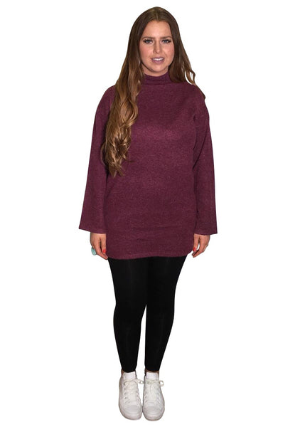 BERRY FUNNEL NECK KNIT