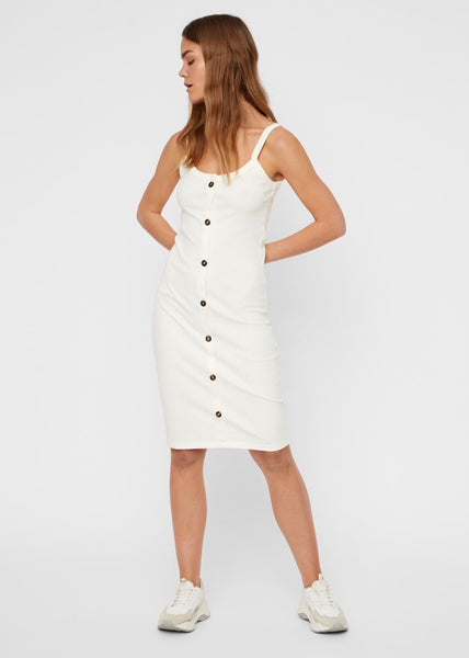 CREAM RIBBED DRESS