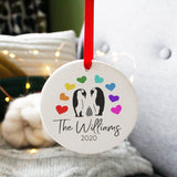 Family Christmas Rainbow Penguin Ceramic Decoration