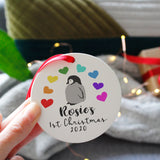 Baby First Christmas Rainbow Penguin Ceramic Decoration