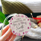 First Married Christmas Snowflake Ceramic Decoration