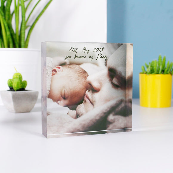 First Father's Day Acrylic Block Photograph - Olivia Morgan Ltd