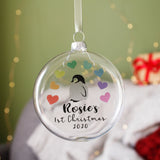 Baby's First Christmas 2020 Rainbow Penguin Bauble