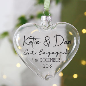 Engagement Heart Personalised Bauble Gift - Olivia Morgan Ltd