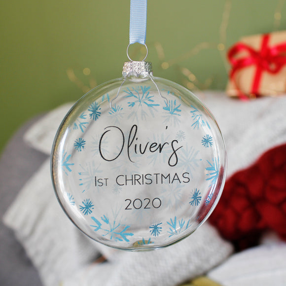 Baby's First Christmas Personalised Flat Bauble - Olivia Morgan Ltd