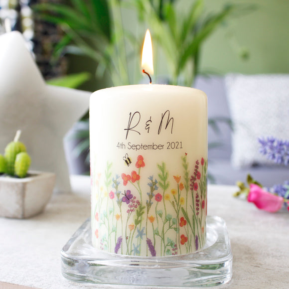 Wild Flower Personalised Anniversary Candle