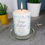 Patterned Christening Personalised Candle For Boys and Girls - Olivia Morgan Ltd