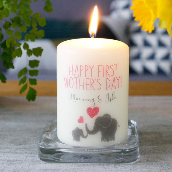Happy First Mother's Day Elephant Candle