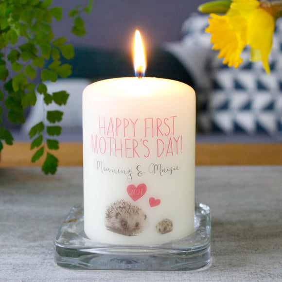 First Mother's Day Hedgehog Candle