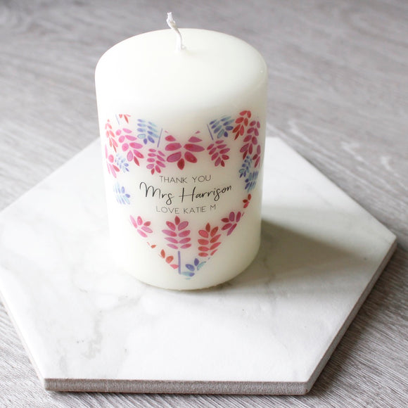 Thank You Teacher Floral Heart Candle - Olivia Morgan Ltd