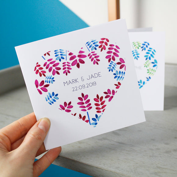 Floral Heart Personalised Anniversary Card - Olivia Morgan Ltd