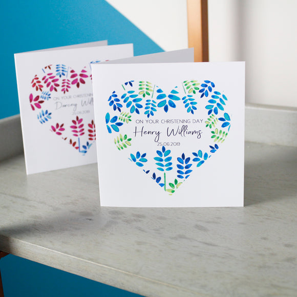 Floral Heart Personalised Christening Card - Olivia Morgan Ltd