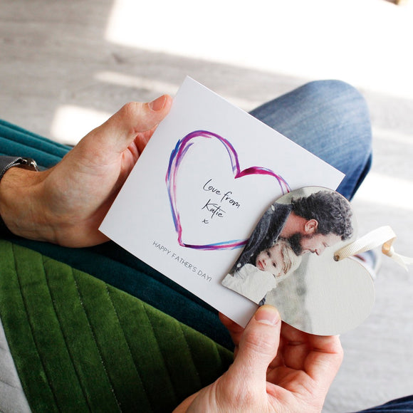 Happy Father's Day Photo Heart And Personalised Card - Olivia Morgan Ltd