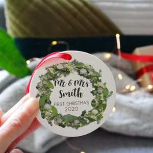 First Married Christmas Ceramic Wreath Decoration