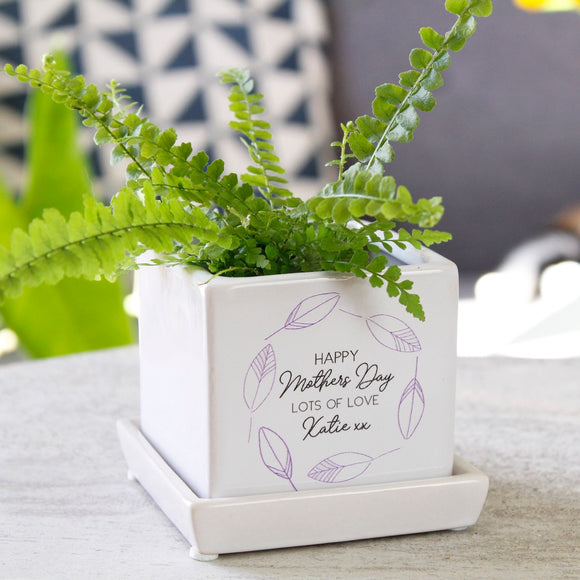 Happy Mother's Day Cube Plant Pot - Olivia Morgan Ltd