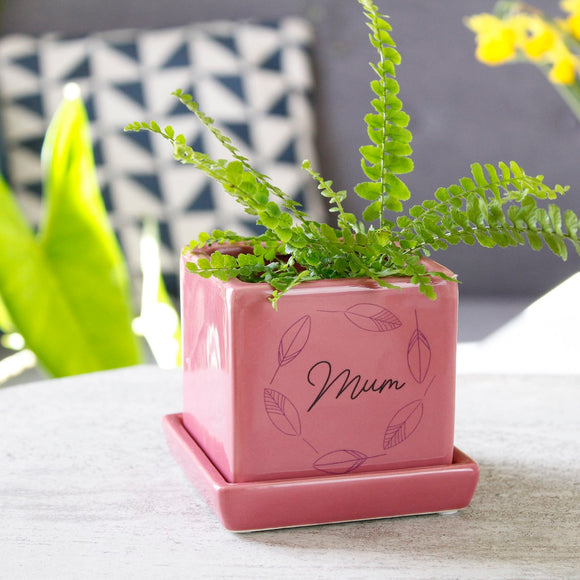Mum Personalised Cube Plant Pot - Olivia Morgan Ltd