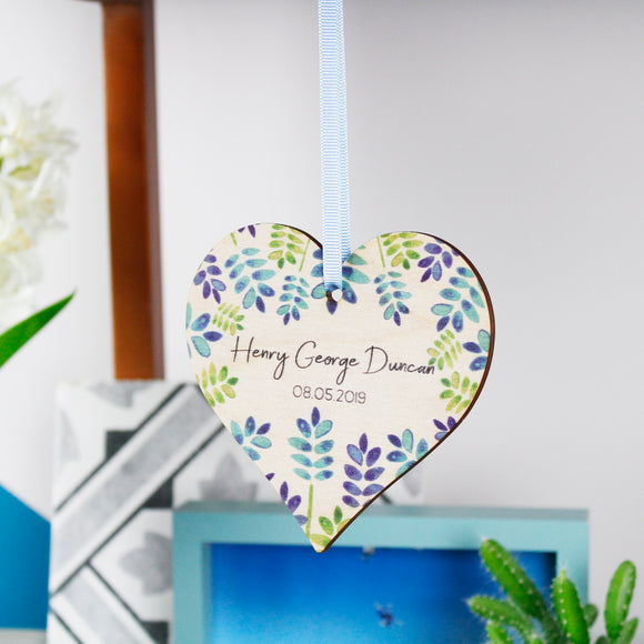New Born Personalised Wooden Heart Decoration - Olivia Morgan Ltd