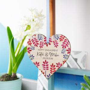 Happy Engagement Personalised Wooden Heart Decoration - Olivia Morgan Ltd