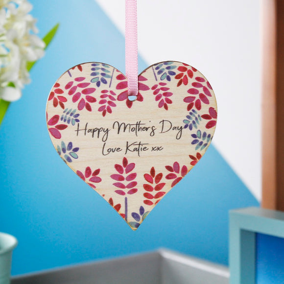 Happy Mother's Day Floral Heart Hanging Decoration - Olivia Morgan Ltd