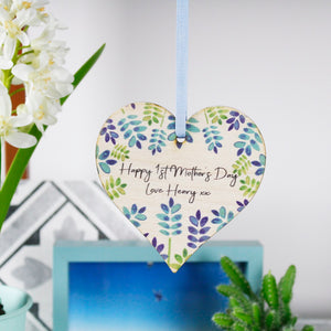 Happy First Mother's Day Floral Heart Hanging Decoration - Olivia Morgan Ltd