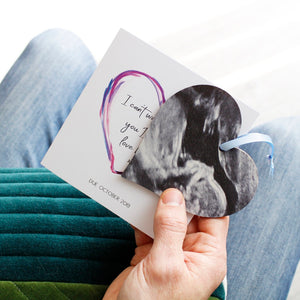 Baby Scan Photo Heart And Personalised Card - Olivia Morgan Ltd