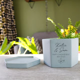 Engagement Congratulations Personalised Hexagon Plant Pot - Olivia Morgan Ltd