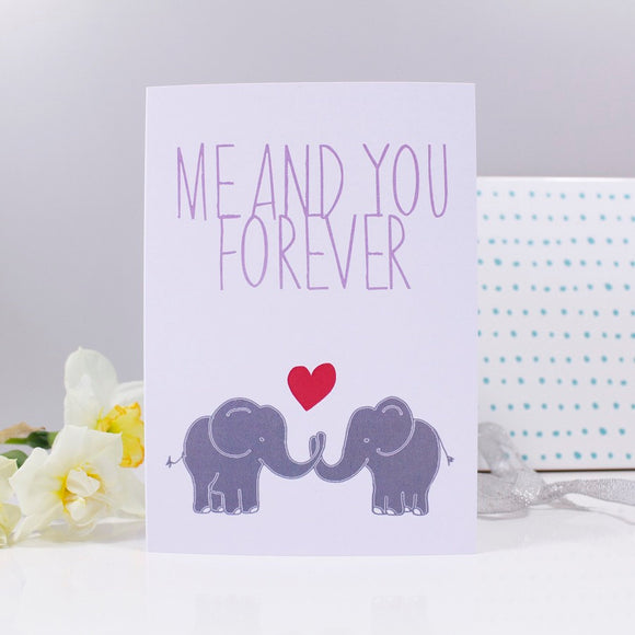 Me and You Forever Elephant Anniversary Card - Olivia Morgan Ltd