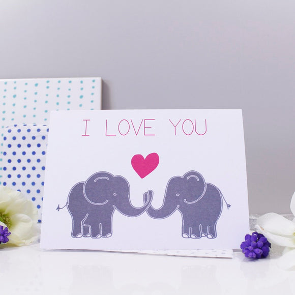 I Love You Elephant Anniversary Card - Olivia Morgan Ltd
