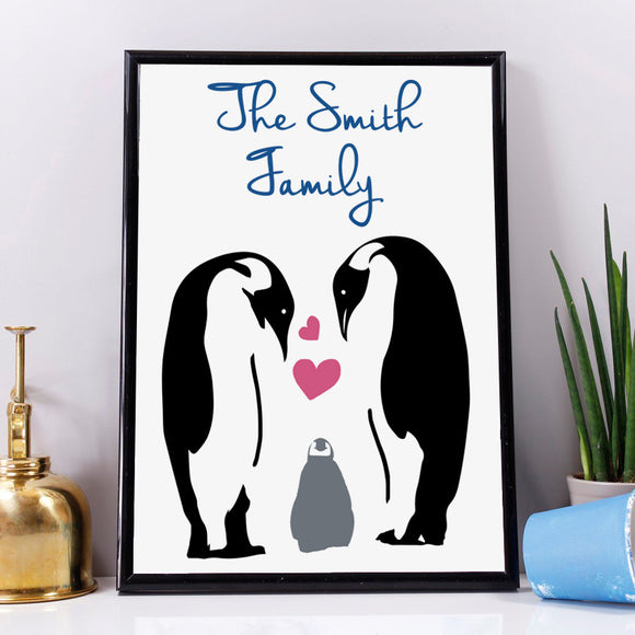 Family Personalised Penguin Print - Olivia Morgan Ltd