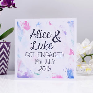 Engagement Personalised Watercolour Card - Olivia Morgan Ltd