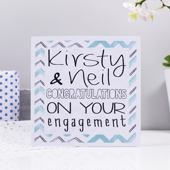 Engagement Chevron Personalised Card - Olivia Morgan Ltd